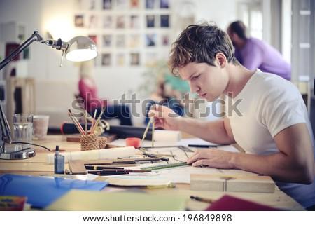 Architect working - stock photo