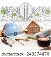 architect working table and two point perspective modern building plan use for construction engineering and real estate ,land development industry - stock photo
