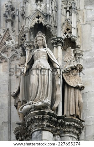Architectonic detail, Stephansdom, Vienna - stock photo