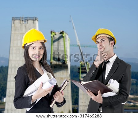 architects at work, professions and architecture - stock photo