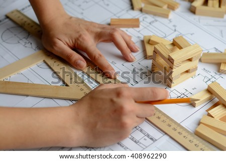 Architects workplace -  project, blueprints, ruler. Construction concept. Engineering tools.  - stock photo