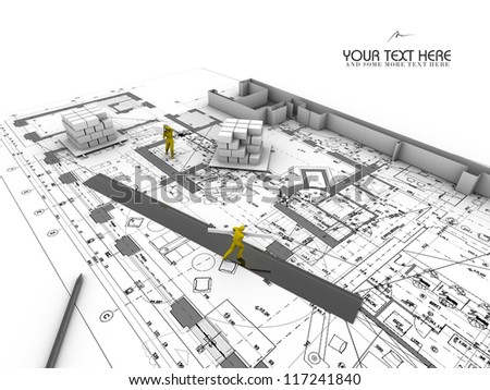 architectural abstract plan - stock photo