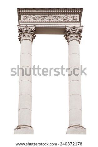 architectural arch columns on a white background. - stock photo