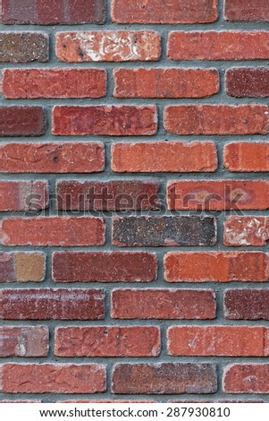 Architectural background close up detail of precision masonry brick wall. Weathered bricks of different colors with most in the burgundy to red range. Gray cement. Vertical format.