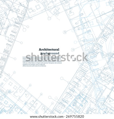 Architectural background. Gray-blue building plan silhouette on white background.  - stock photo