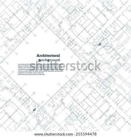 Architectural background. Gray building plan silhouette on white background.  - stock photo