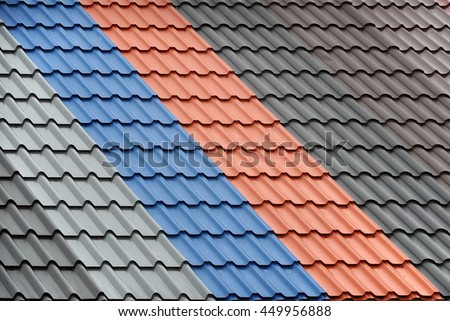 Texture Of A Metal Roof Tiles Of Black, Gray, Blue And