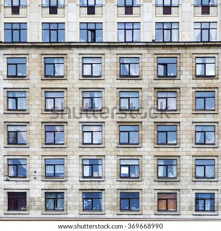 architectural background  texture pattern of Buildings with windows - stock photo