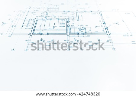 architectural background with construction plan technical drawing - stock photo