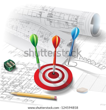 Architectural background with dart. Part of architectural project - Raster version - stock photo