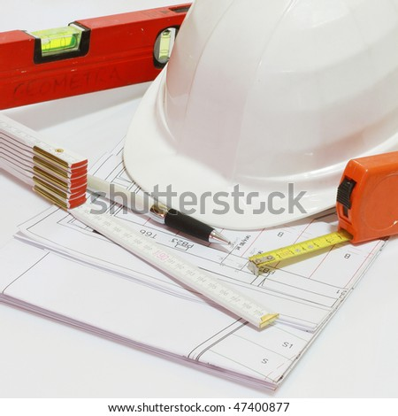 Architectural background with Drawing and various working tools - stock photo