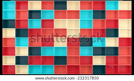 architectural background with empty wall made of glossy plastic boxes in stylish colors - stock photo