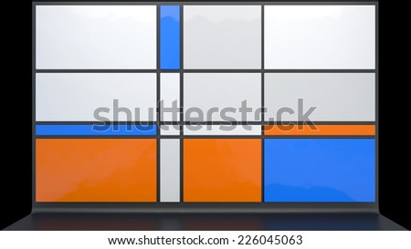 architectural background with flat plastic blocks different colors