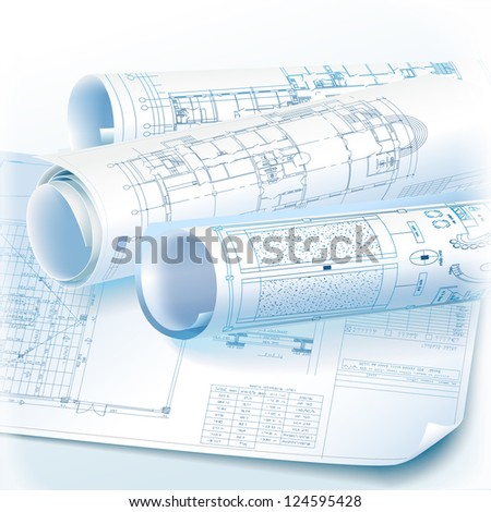 Architectural background with rolls of technical drawings - Raster version - stock photo