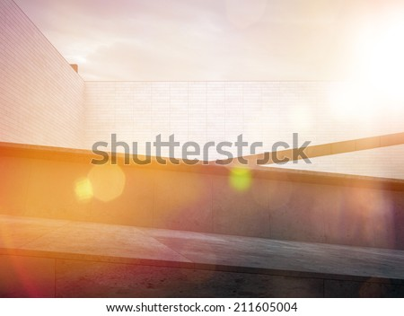 Architectural Black and White Building Rooftop Area - stock photo