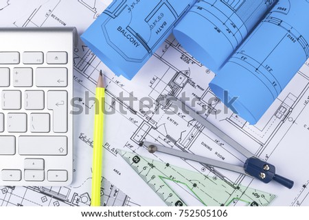 modern architecture blueprints. Simple Modern Architectural Blueprint Drawings Of The Modern House With Computer  Keyboard Blueprints And Rolls On Modern Architecture Blueprints E