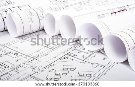 Architectural blueprint rolls  - stock photo