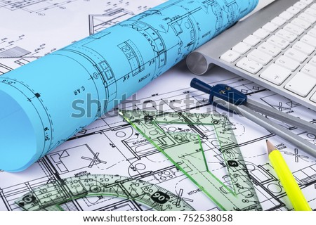 Blueprint stock images royalty free images vectors shutterstock architectural blueprints drawings of the modern house with computer keyboard architectural blueprints and blueprint rolls malvernweather Choice Image