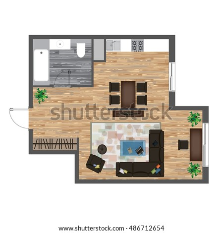 Architectural Color Floor Plan. Studio Apartment Illustration. Top View  Furniture Set. Living Room Part 73
