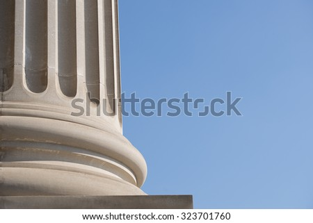 Architectural Column Against clear Blue Sky - stock photo