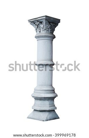 architectural column in classical style isolated on white background - stock photo