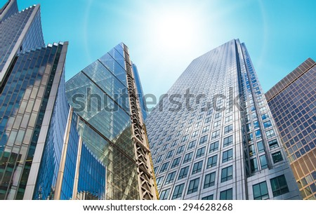 Architectural composition made of modern glass buildings. Abstract business background - stock photo