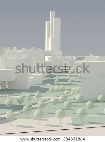 Architectural concept of city . Trees/buildings Illustration 3d render - stock photo