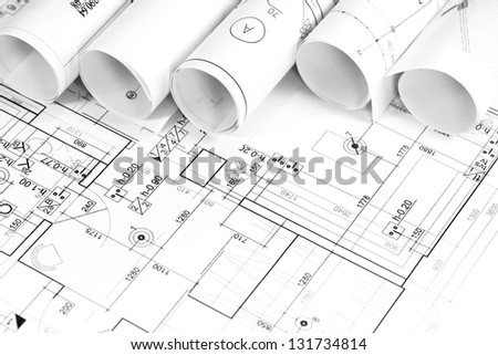 Architectural construction documents and plans - stock photo