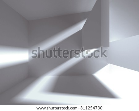 Architectural construction with falling light. 3d render illustration