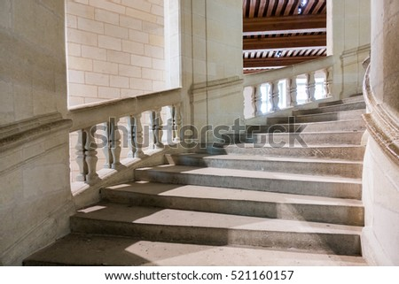 Architectural Curved Staircase Banister Stone In Castle