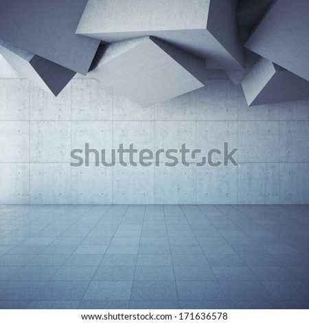 Architectural design of modern concrete hall with abstract geometry - stock photo