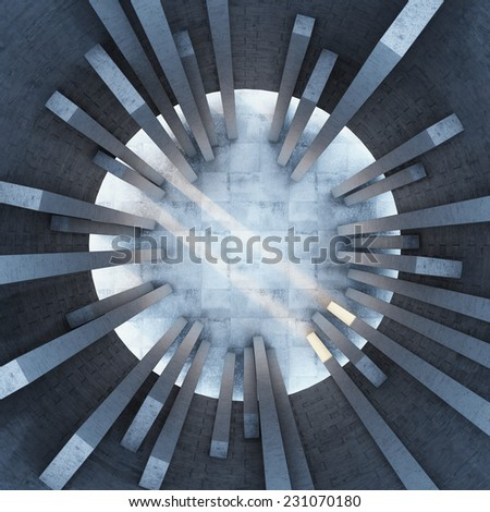 Architectural design of the building. Top view. - stock photo