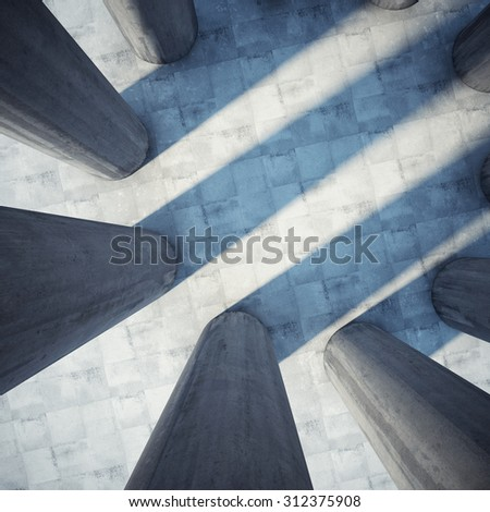 Architectural design of the building with columns. Top view. - stock photo