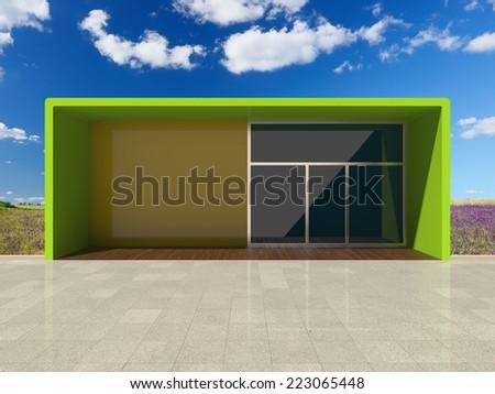 Architectural design shop among beautiful nature. 3D illustration. - stock photo