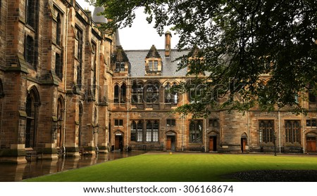 Architectural detail from inner court of the university of Glasgow, Scotland - stock photo
