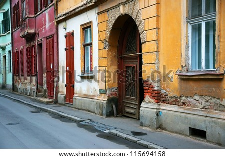 Architectural detail in old city of Sibiu, Transylvania, Europe - stock photo