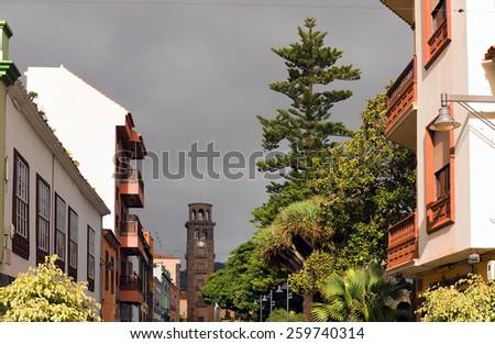 Architectural detail in San Cristobal de la Laguna, Tenerife, Canary Islands - stock photo