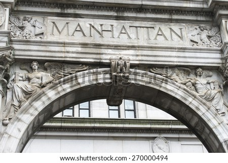 Architectural detail of a building, Lower Manhattan, New York City, New York State, USA - stock photo