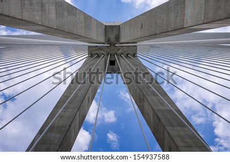 Architectural detail of a cable bridge, between Rio and Antirrio, Greece - stock photo