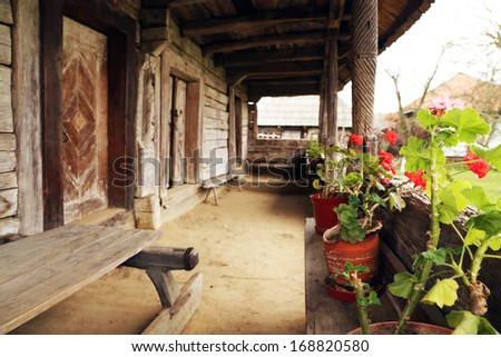 Architectural detail of a romanian traditional wooden house - stock photo