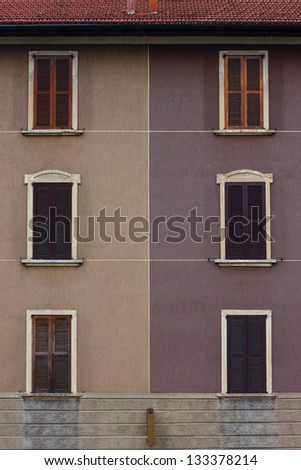 Architectural detail of an old building with shutters