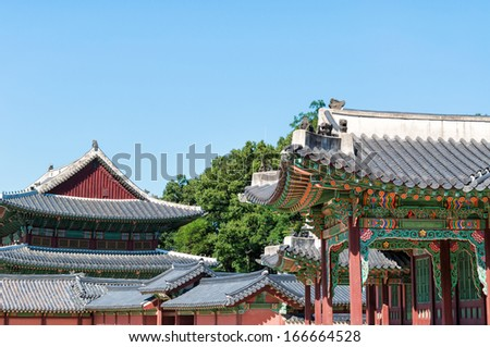 Architectural detail of Changdeokgung Palace in Seoul, South Korea. - stock photo