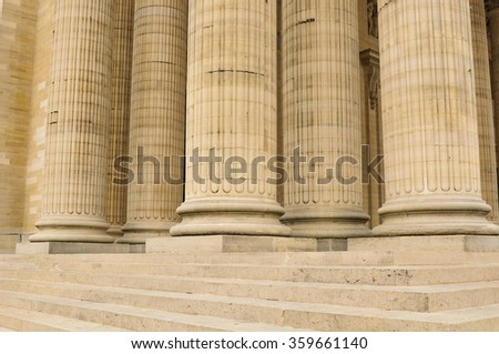 Architectural detail of columns in Paris, France. - stock photo