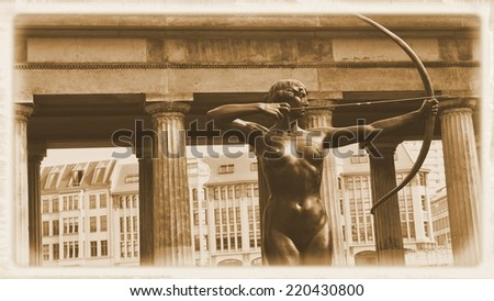 Architectural detail of Diana hunting (Berlin, Germany) - stock photo
