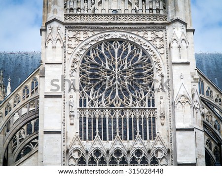 Architectural detail of gothic cathedral - stock photo