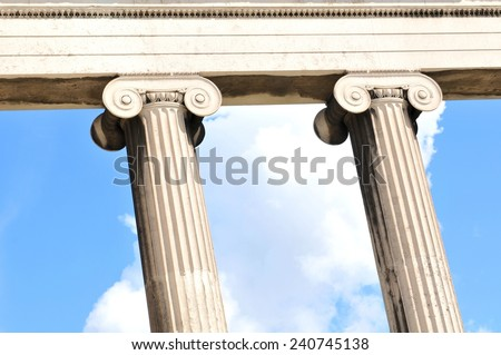 Architectural detail of Greek columns   - stock photo