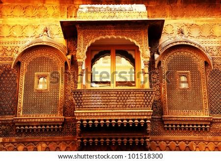 Architectural detail of Mandir Palace, Jaisalmer, India, Asia - stock photo