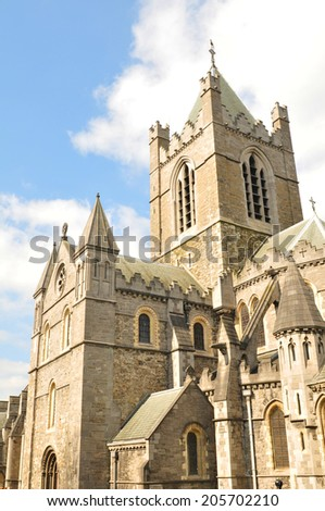 Architectural detail of medieval cathedral in Dublin, Ireland - stock photo