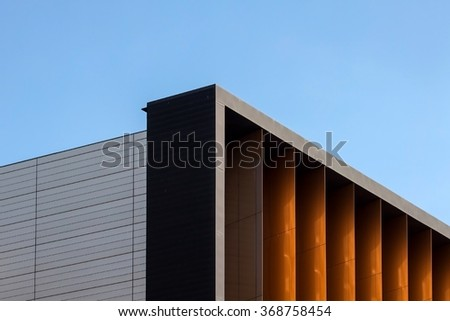 Architectural detail of modern office building - stock photo