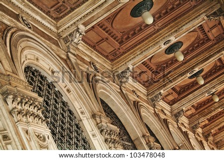 Architectural detail of moldings; neoclassicism, Italy, Bologna - stock photo